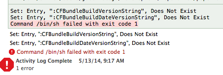 Bash Script in Xcode Returning Error